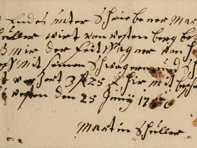 Old bill, manuscript, German forms of cursive, Kurrentschrift, 1750