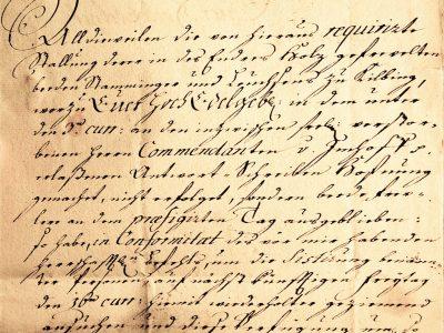 Old letter, German forms of cursive, Kurrentschrift, 1754